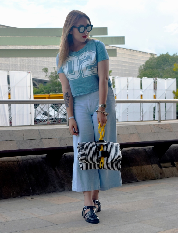 Denim tendencias look danielastyling street style colombiamoda 2